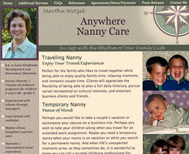 Anywhere Nanny Care web design